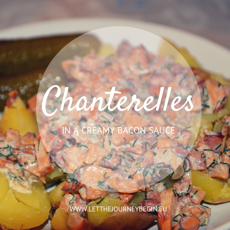 Chanterelle mushrooms in a cream sauce with bacon - a classic Latvian fall recipe