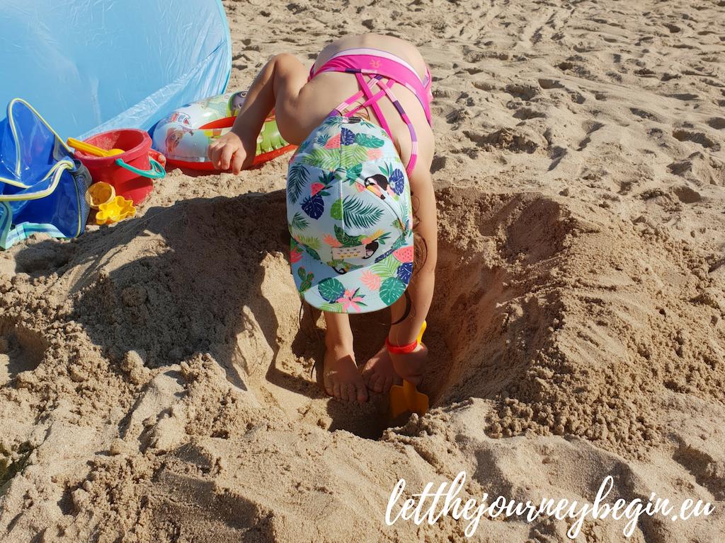 Playing on the beach at Cala Gran